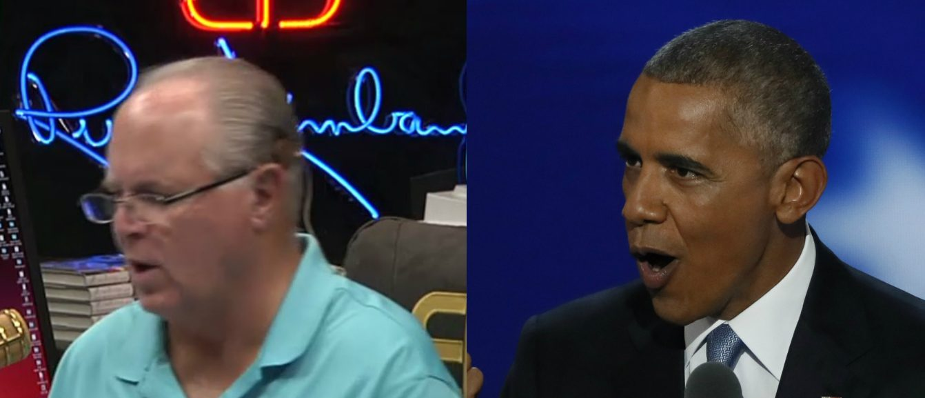 Rush Limbaugh, Barack Obama, Screen Grab Rush Limbaugh Show, Reuters