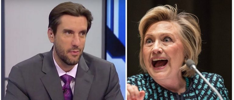 Clay Travis, Hillary Clinton (Credit: Getty Images, Youtube Screenshot Fox Sports)
