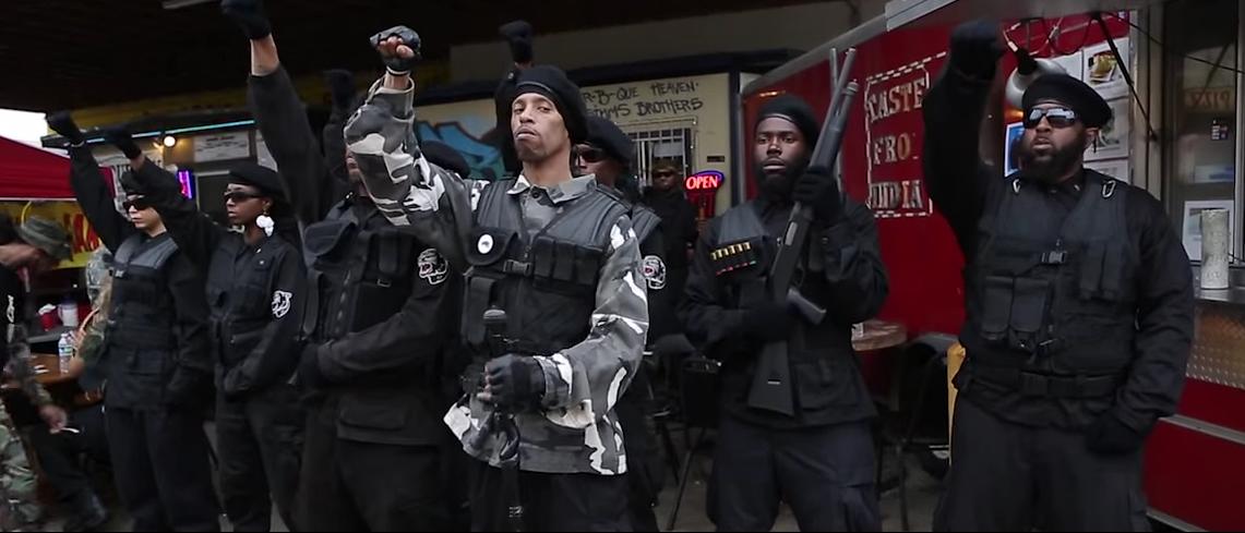Members of the Huey P. Newton Gun Club hold an anti-police rally in Austin, Tex. May 2015. (Youtube screen grab)
