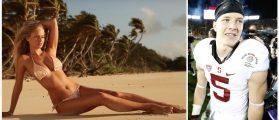 Genevieve Morton, Christian McCaffrey (Credit: Getty Images/Youtube Screenshot Sports Illustrated Swimsuit)