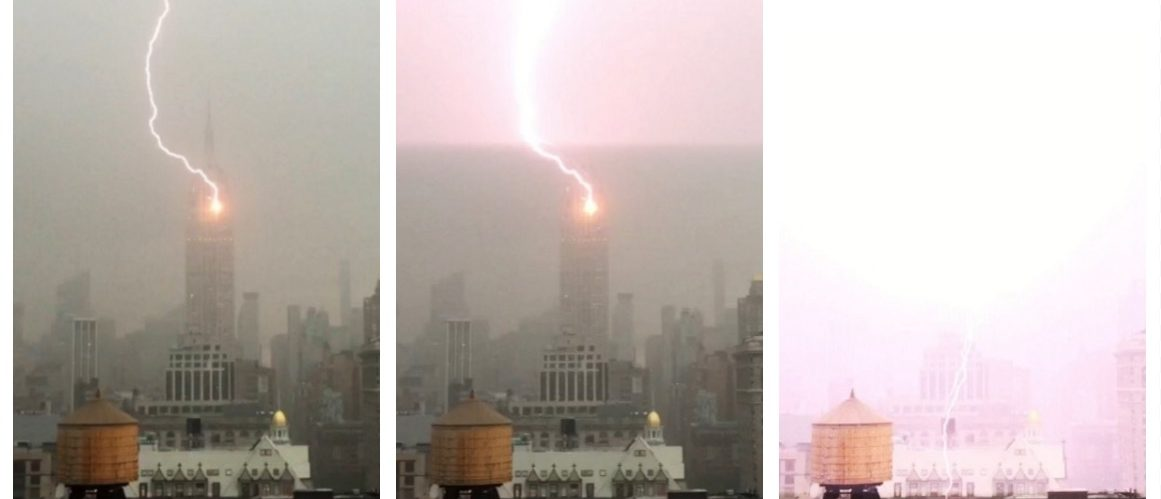 Lightning strike hits the Empire State Building (Henrik Moltke YouTube)