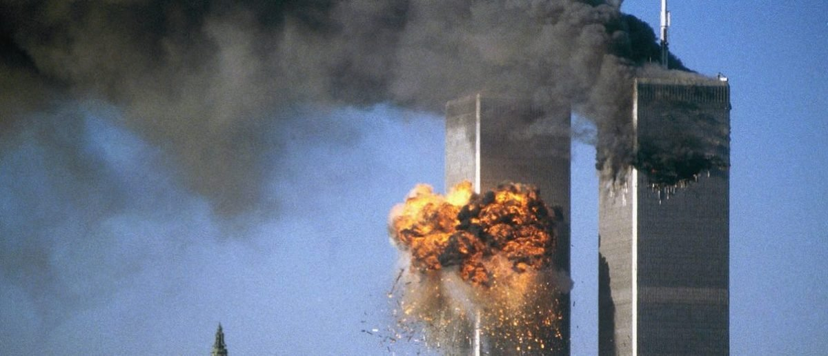 Twin towers hit on 9/11