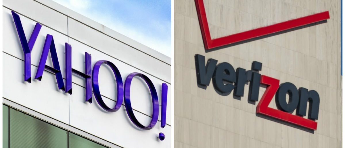 Yahoo Sign: Ken Wolter / Shutterstock.com Verizon Sign: rmnoa357 / Shutterstock.com