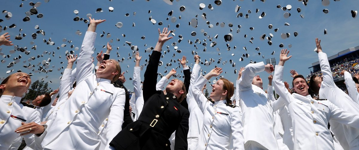 Graduation and commissioning ceremony at the U.S. Naval Academy in Annapolis, Maryland