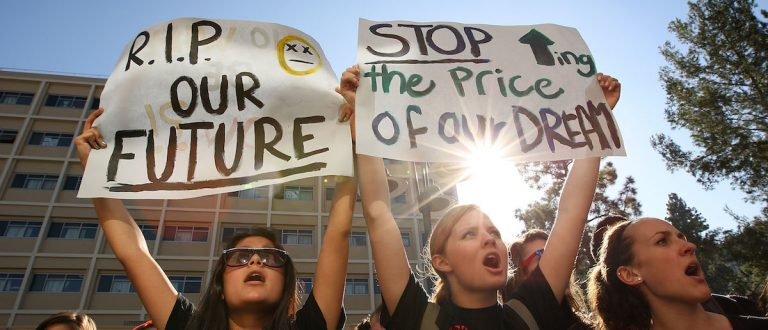 LOS ANGELES, CA - NOVEMBER 19: University of California Los Angeles (UCLA) students and supporters protest as the UC Board of Regents meets to vote on a 32 percent tuition hike next year on November 19, 2009 in Los Angeles, California. (Photo by David McNew/Getty Images)