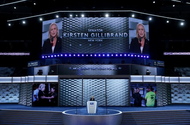 PHILADELPHIA, PA - JULY 25: Sen. Kirsten Gillibrand (D-NY) delivers remarks on the first day of the Democratic National Convention at the Wells Fargo Center, July 25, 2016 in Philadelphia, Pennsylvania. An estimated 50,000 people are expected in Philadelphia, including hundreds of protesters and members of the media. The four-day Democratic National Convention kicked off July 25. (Photo by Alex Wong/Getty Images)
