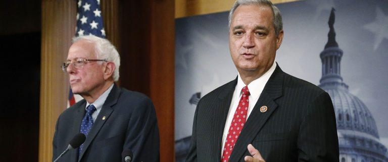 U.S. Senate Veterans' Affairs Committee Chairman Sanders and House Veterans' Affairs Committee Chairman Miller announce bipartisan legislation to address problems in the VA healthcare system, at the U.S. Capitol