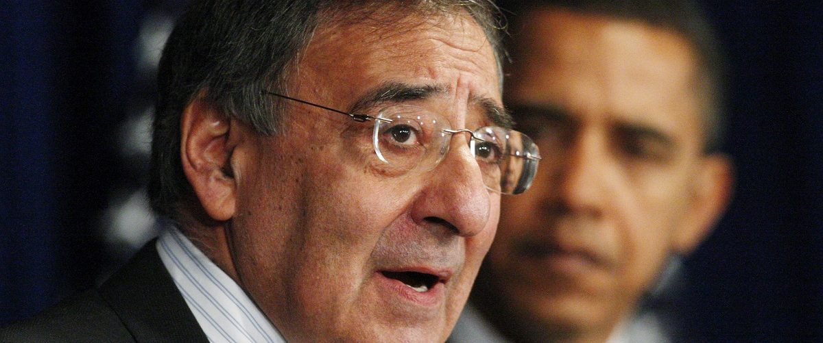 U.S. President-elect Barack Obama (R) listens as his appointee for CIA Director former Clinton administration White House chief of staff Leon Panetta speaks at a news conference at his transition office in Washington January 9, 2009. REUTERS/Jim Young.