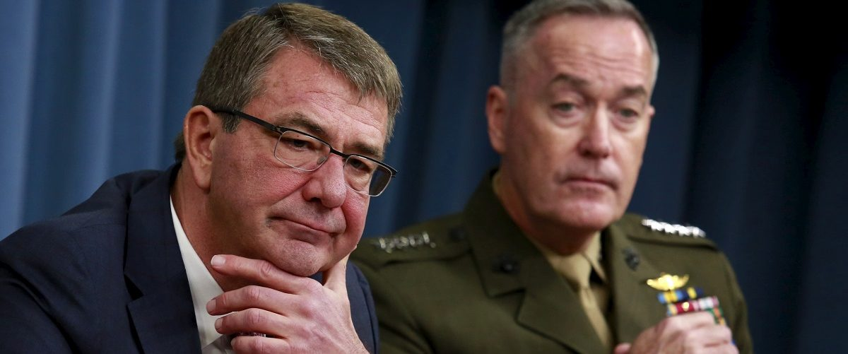 Defense Secretary Ash Carter and Joint Chiefs Chairman Marine Gen. Joseph Dunford hold a joint news conference