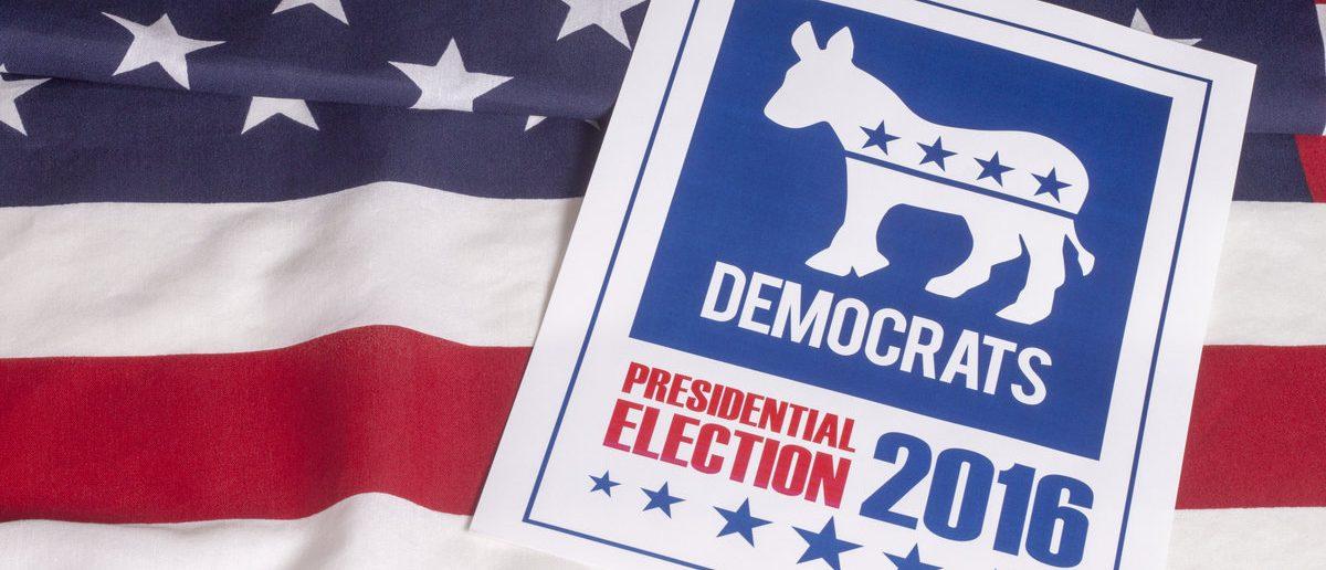 Democrat election on textured American flag (Shutterstock/danielfela)