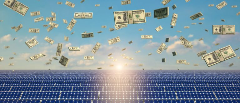 Solar Panels under a rain of cash. (Shutterstock/Lightboxx)