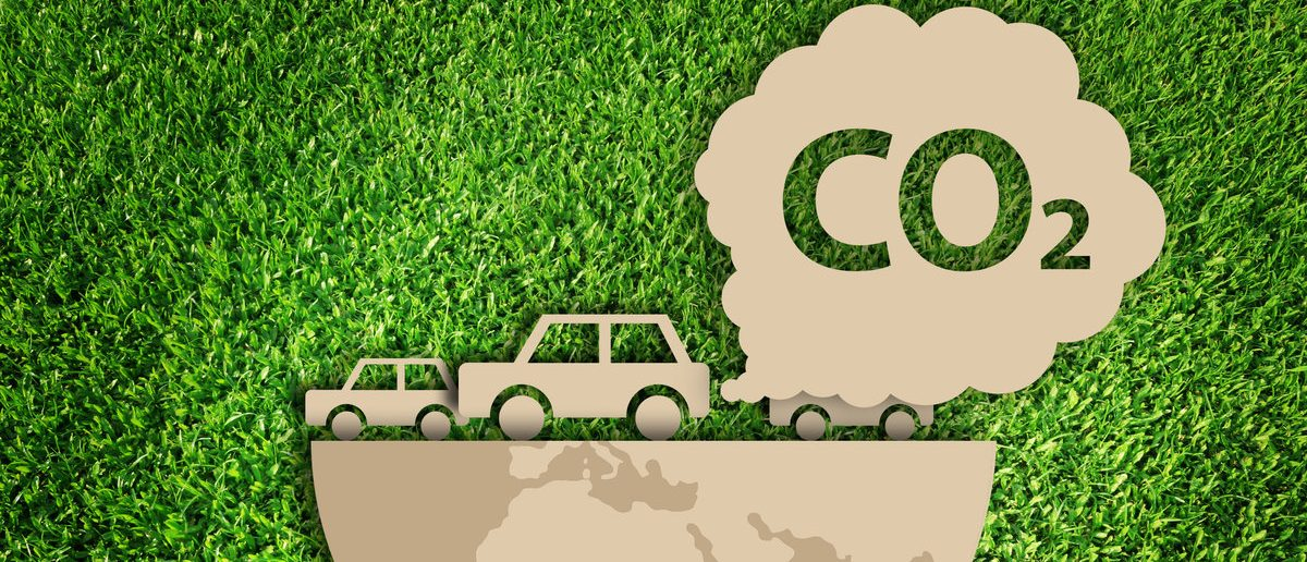 Carbon dioxide. Air Pollution concept. Paper cut of eco on green grass. (Shutterstock/Vanatchanan)