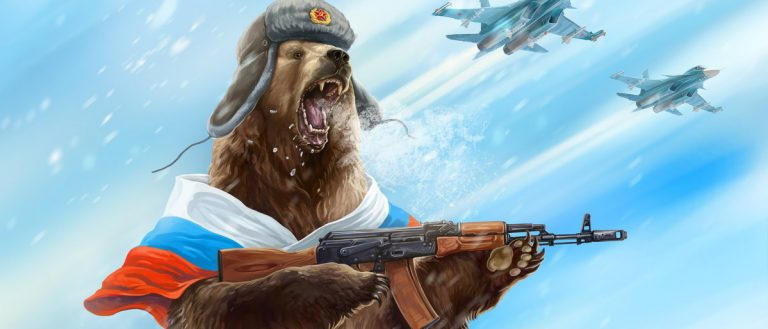 urious bear with a kalashnikov assault rifle is wearing a soldier cap. Comic image of Russia and the USSR. Propaganda cliche. (Shutterstock/Rustic)