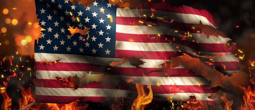 Burning American flag (Shutterstock)