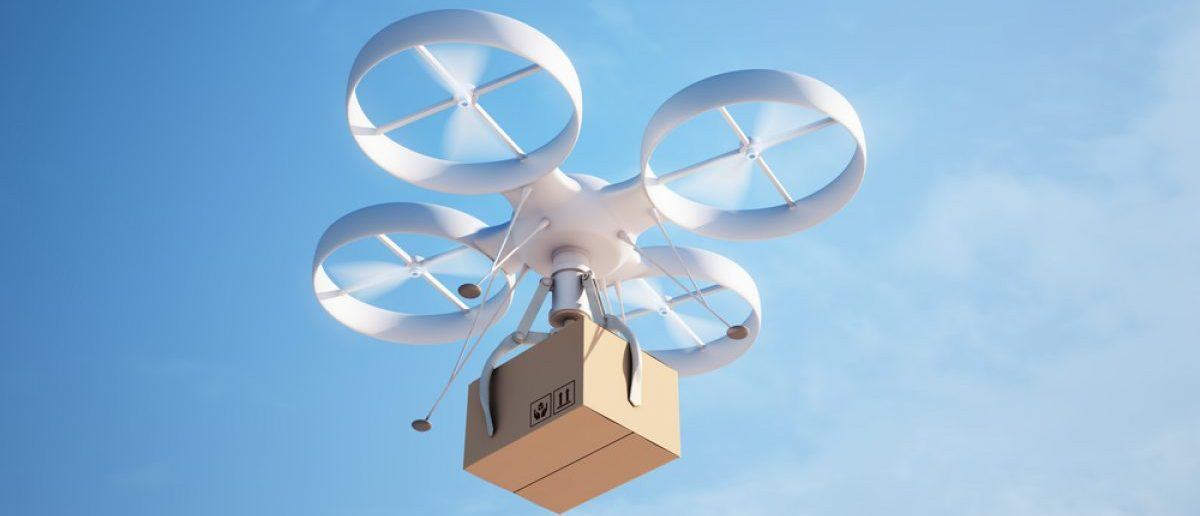 Autonomous drone delivering a package. [Shutterstock - Mopic]