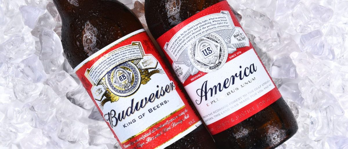 Two Budweiser Beer Bottles on ice. A limited edition America bottle and a traditional label from Anheuser-Busch. [Shutterstock - LunaseeStudios]