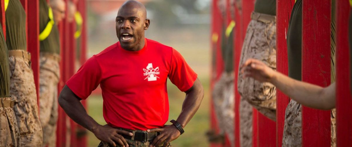 Drill Instructor Sgt. Daniel Anderson motivates recruits during physical training at Marine Corps Recruit Depot Parris Island on December 4, 2014.  Only about 600 Marine Corps drill instructors shape the approximately 20,000 recruits who come to Parris Island annually. The handful of drill instructors are entrusted with sustaining a more than 239-year legacy by transforming men and women into the next generation of Marines. (U.S. Marine Corps photo by Cpl. Caitlin Brink/Released)
