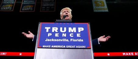 Republican presidential nominee Donald Trump attends a campaign event at the Jacksonville Veterans Memorial Arena in Jacksonville, Florida, U.S., August 3, 2016. REUTERS/Eric Thayer