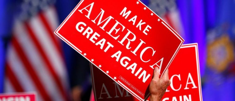 Republican U.S. presidential nominee Donald Trump holds a campaign rally at the Ziegler Building at the Washington County Fair Park & Conference Center in West Bend, Wisconsin