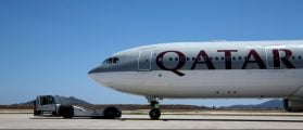 A Qatar Airways aircraft is seen at a runway of the Eleftherios Venizelos International Airport in Athens, Greece, May 16, 2016. REUTERS/Alkis Konstantinidis/File Photo
