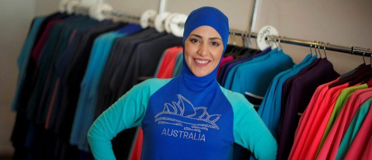 Model Salwa Elrashid models a 'burkini', designed by Lebanese-born Australian Aheda Zanetti at her fashion store in Sydney, August 23, 2016.  REUTERS/Jason Reed
