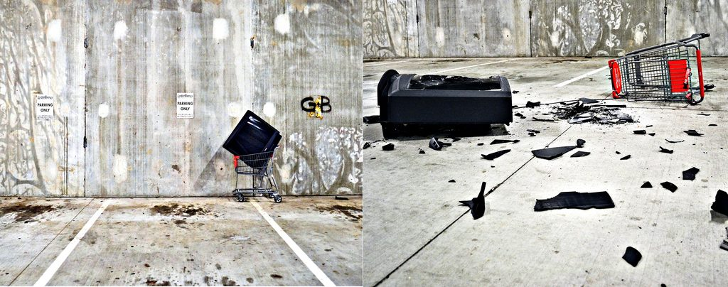 An abandoned shopping cart and broken television, before and after. (Flickr image by mcclanahoochie)