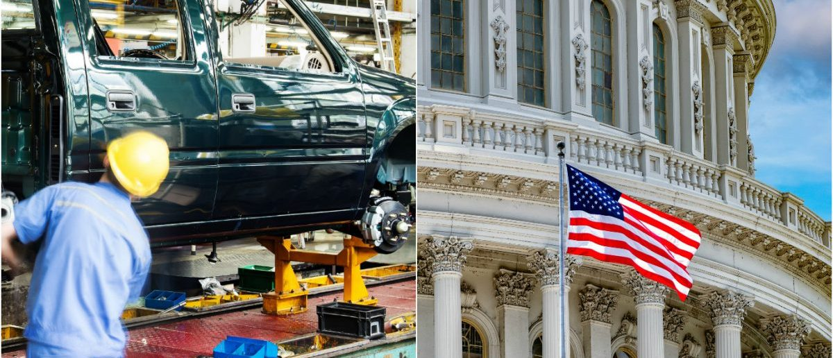 Automotive Pick Up Truck Factory: gyn9037/shutterstock.com, US Capitol w/ Flag: Andrea Izzotti/shutterstock.com