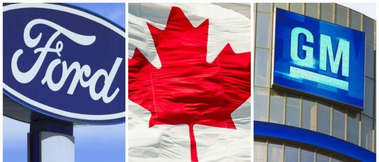 Ford Sign: TonyV3112/shutterstock.com, Canada Flag: rmnoa357/shutterstock.com, General Motors: Linda Parton, shutterstock.com