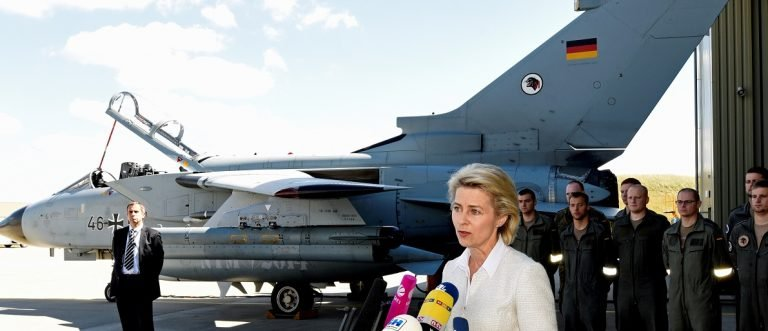 German Defence Minister von der Leyen visits the Tactical Air Force Wing 51 'Immelmann' at German army Bundeswehr airbase in Jagel