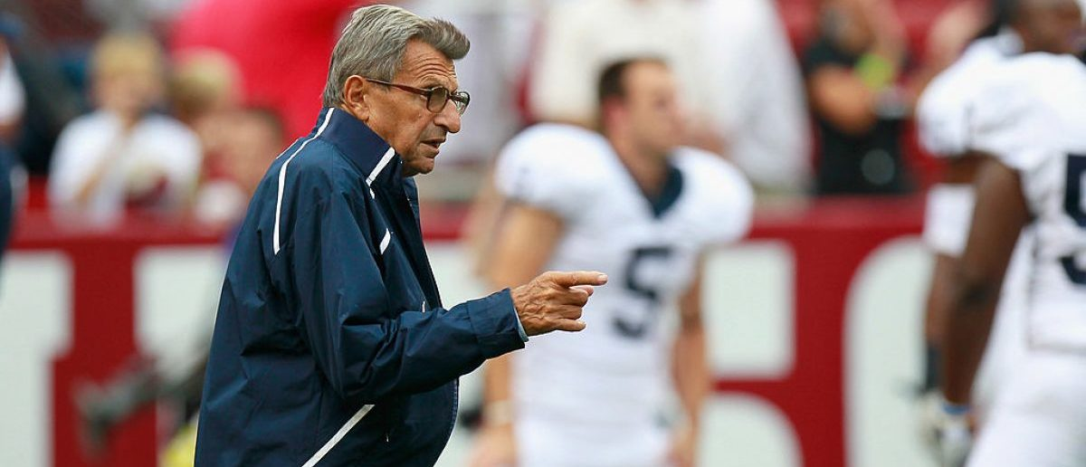 Head coach Joe Paterno of the Penn State Nittany Lions during warmups before facing the Alabama Crimson Tide at Bryant-Denny Stadium on September 11, 2010 in Tuscaloosa, Alabama. (Photo by Kevin C. Cox/Getty Images)