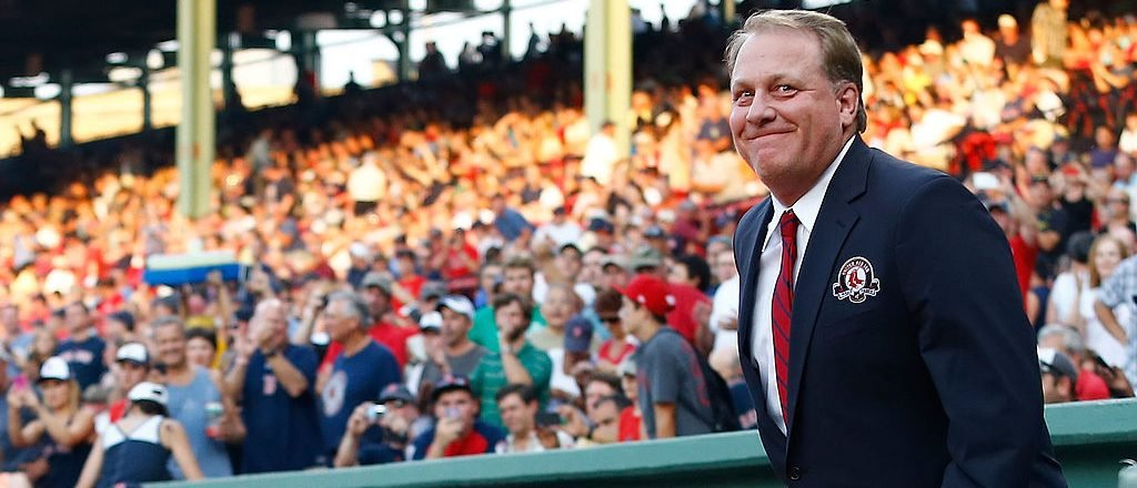 Curt Schilling is introduced before being inducted into the Red Sox Hall of Fame (Getty Images)
