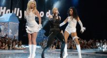 Britney with Christina Aguilera and Madonna at the 2003 MTV Video Music Awards. (Photo by Frank Micelotta/Getty Images)