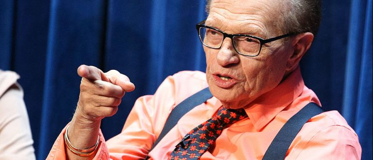 Television/radio personality Larry King speaks onstage during a Q&A following The Paley Center For Media's presentation of 'OJ: The Trial Of The Century Twenty Years Later' at The Paley Center for Media on June 12, 2014 in Beverly Hills, California