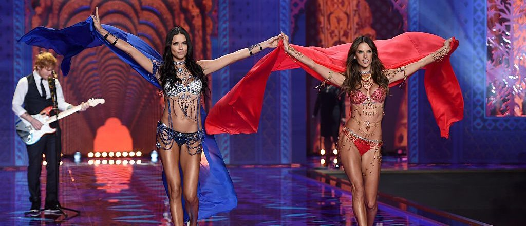 Adriana Lima and Alessandra Ambrosio (Photo by Dimitrios Kambouris/Getty Images for Victoria's Secret)