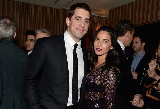 Olivia Munn, Aaron Rodgers (Credit: Getty Images/Chris Weeks)