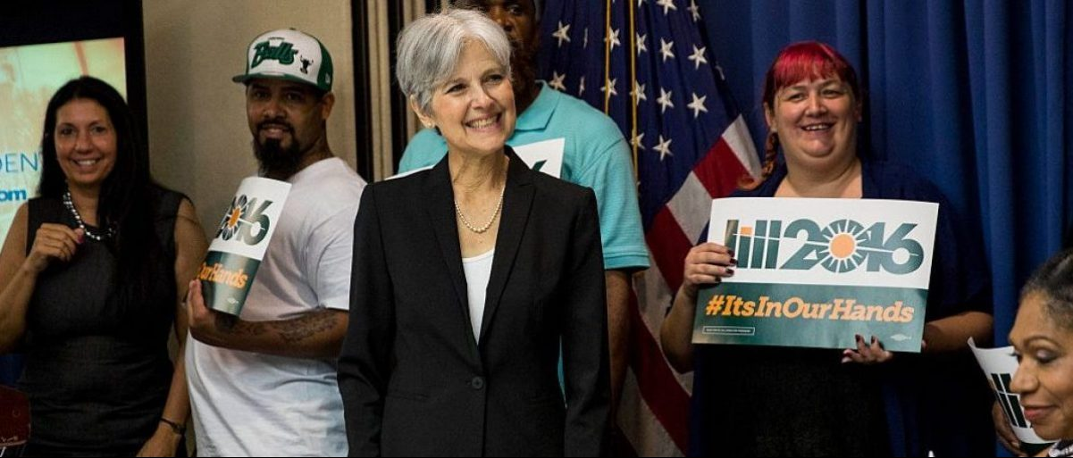 WASHINGTON, DC - JUNE 23: Jill Stein smiles after announcing that she will seek the Green Party's presidential nomination, at the National Press Club, June 23, 2015 in Washington, D.C.
