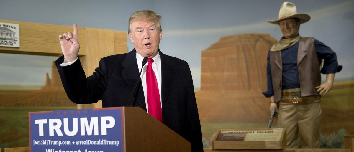 WINTERSET, IA - JANUARY 19:   Republican presidential candidate Donald Trump speaks at the John Wayne Birthplace Museum on January 19, 2016 in Winterset, Iowa. Trump received the endorsement of Aissa Wayne, John Wayne's daughter. (Photo by Aaron P. Bernstein/Getty Images)