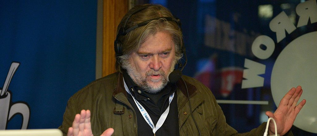 MANCHESTER, NH - FEBRUARY 08: Breitbart News Daily host Stephen K. Bannon live on air at SiriusXM Broadcasts' New Hampshire Primary Coverage Live From Iconic Red Arrow Diner on February 8, 2016 in Manchester, New Hampshire. (Photo by Paul Marotta/Getty Images for SiriusXM)