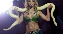 """Everyone remembers Britney's """"I'm A Slave For You"""" performance from the 2001 VMAs. (Photo credit: TIMOTHY A.CLARY/AFP/Getty Images)"""