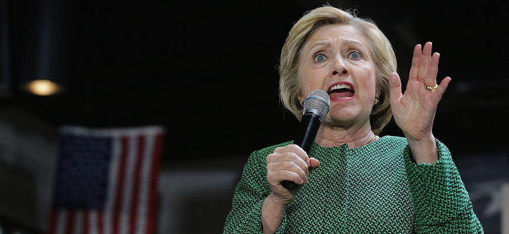 Hillary Clinton holds a campaign rally at City Garage April 10, 2016 (Getty Images)