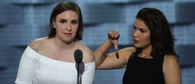 Lena Dunham and America Fererra deliver remarks on the second day of the Democratic National Convention at the Wells Fargo Center on July 26, 2016 (Getty Images)