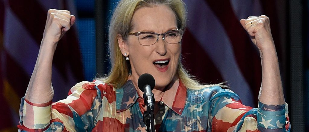 Actress Meryl Streep addresses the Democratic National Convention at the Wells Fargo Center, July 26, 2016 in Philadelphia. (SAUL LOEB/AFP/Getty Images)
