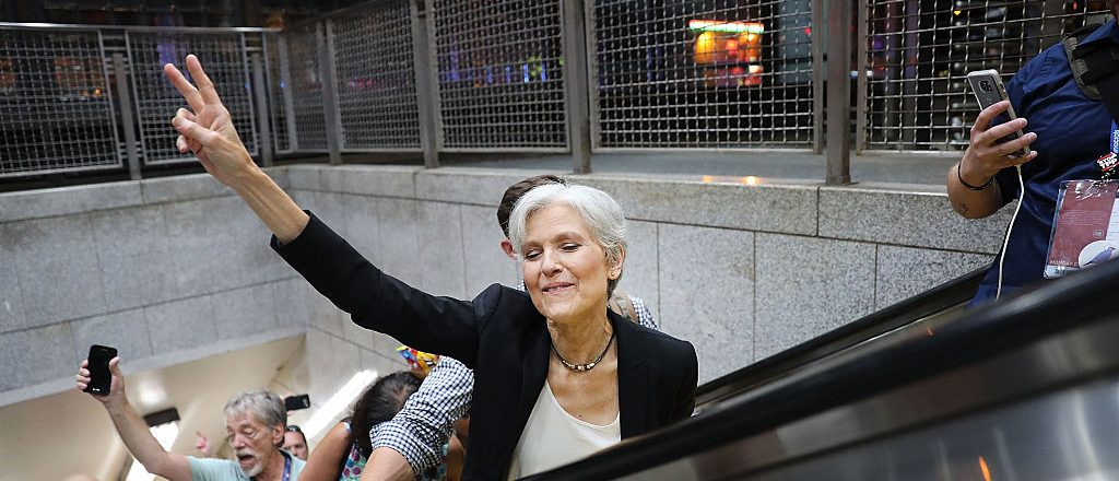 Jill Stein speaks with supporters in downtown Philadelphia during events at the Democratic National Convention (Getty Images)