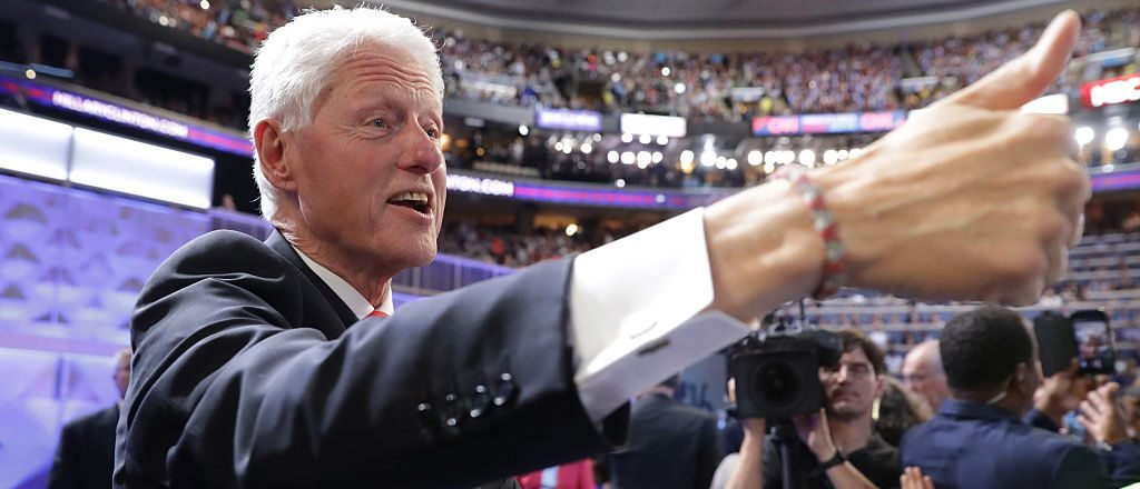 Bill Clinton gives a thumbs up to attendees on the fourth day of the Democratic National Convention (Getty Images)