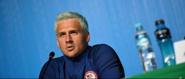 U.S. swimmer Ryan Lochte holds a press conference on August 3, 2016 in Rio de Janeiro, two days ahead of the opening ceremony of the Rio 2016 Olympic Games. (MARTIN BUREAU/AFP/Getty Images)