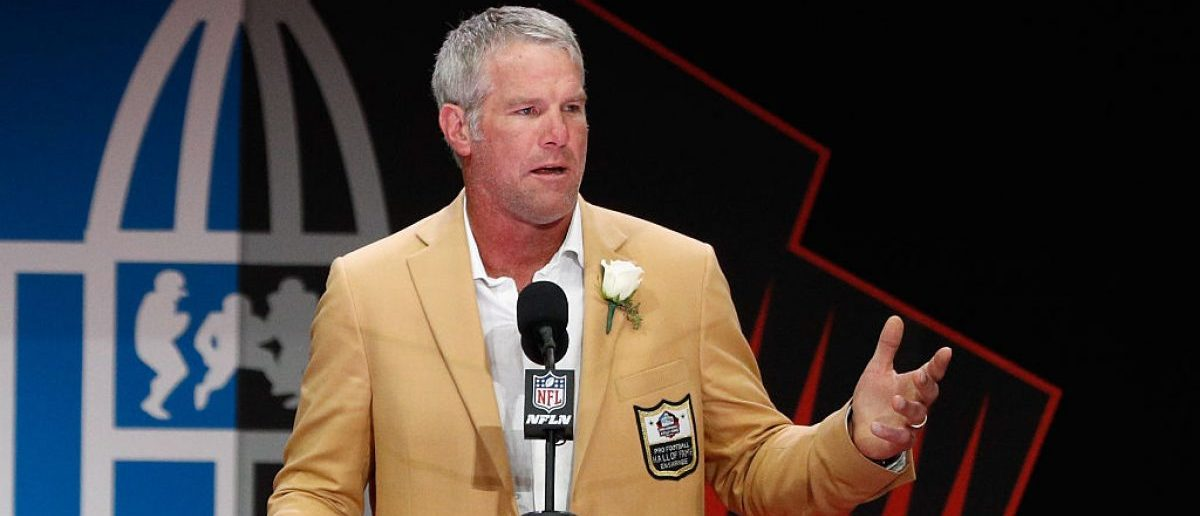 Brett Favre, former NFL quarterback, speaks during his 2016 Class Pro Football Hall of Fame induction speech during the NFL Hall of Fame Enshrinement Ceremony at the Tom Benson Hall of Fame Stadium on August 6, 2016 in Canton, Ohio.  (Photo by Joe Robbins/Getty Images)