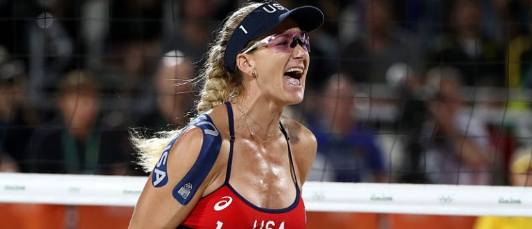 Kerri Walsh Jennings of United States celebrates during the Women's Beach Volleyball preliminary round Pool C match against Fan Wang and Yuan Yue of China on Day 3 of the Rio 2016 Olympic Games at the Beach Volleyball Arena on August 8, 2016 in Rio de Janeiro, Brazil