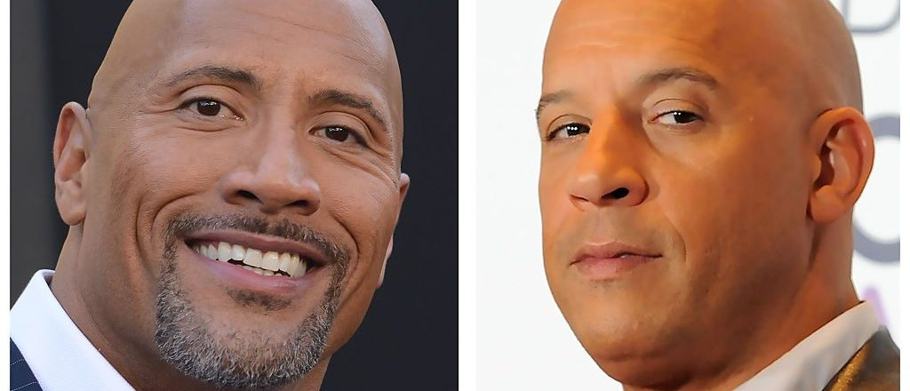 """(FILES): These two file photos show actor Dwayne Johnson (L) during the Warner Bros premiere of """"Central Intelligence"""" in Westwood, California, on June 10, 2016; and actor Vin Diesel"""