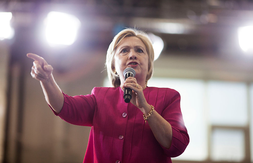 Hillary Clinton attends a voter registration event on August 16, 2016 at West Philadelphia High School (Getty Images)
