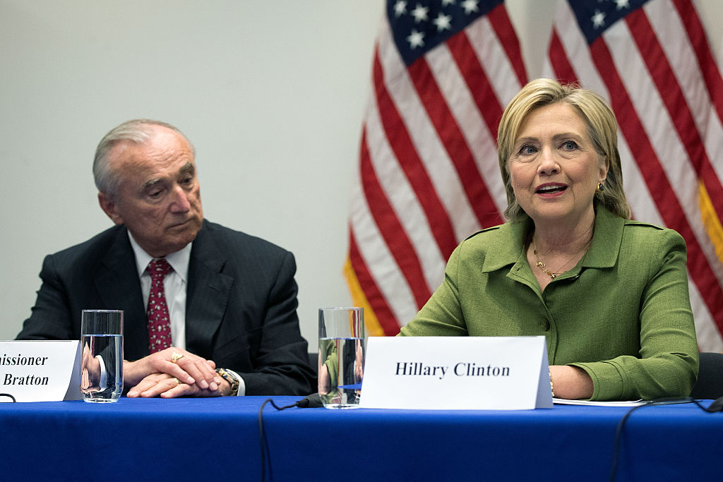 Hillary Clinton delivers opening remarks during a meeting with law enforcement officials at the John Jay College of Criminal Justice (Getty Images)